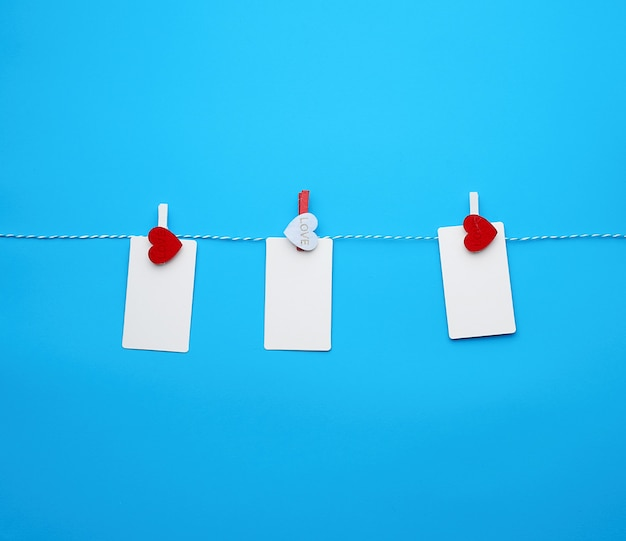 Rechteckige visitenkarten des weißen leeren papiers auf dekorativen wäscheklammern