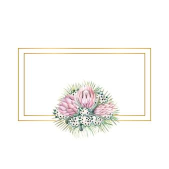 Rechteckiger goldrahmen mit proteablüten, tropischen blättern, palmblättern, bouvardienblüten