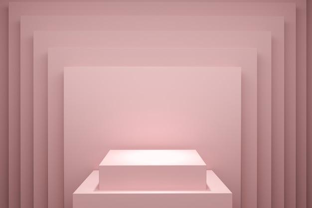 Rechteckiger rosafarbener bühnenhintergrund für kopienraum. 3d-rendering. minimales ideenkonzeptdesign.