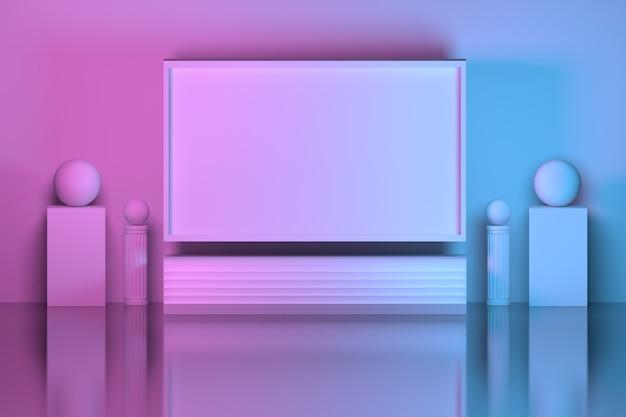 Rechteckplatte mit säulen- und podestpodesten über spiegelboden