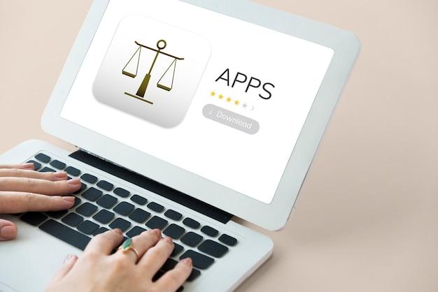 Rechts-apps auf einem gerätebildschirm