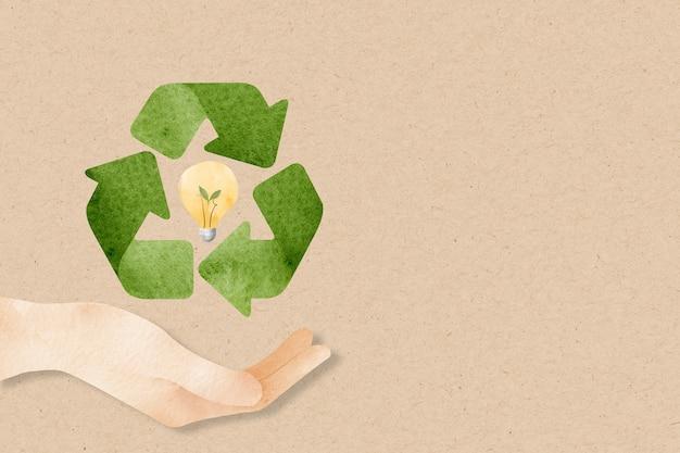 Recyceln sie hintergrund mit handunterstützung nachhaltige idee aquarell
