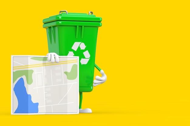 Recyceln sie zeichen-grün-müll-papierkorb-charakter-maskottchen mit abstrakter stadtplan-karte auf einem gelben hintergrund. 3d-rendering