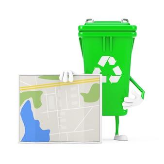 Recyceln sie zeichen-grün-müll-papierkorb-charakter-maskottchen mit abstrakter stadtplan-karte auf einem weißen hintergrund. 3d-rendering
