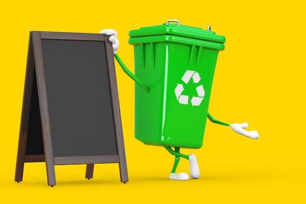Recyceln sie zeichen-grün-müll-papierkorb-charakter-maskottchen mit leeren hölzernen menütafeln im freienanzeige auf einem gelben hintergrund. 3d-rendering