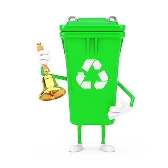 Recyceln sie zeichen-grün-müll-papierkorb-charakter-maskottchen mit vintage golden school bell auf weißem hintergrund. 3d-rendering