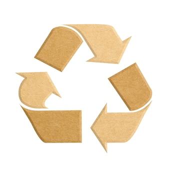 Recycling-logo aus recyceltem karton auf weißem hintergrund