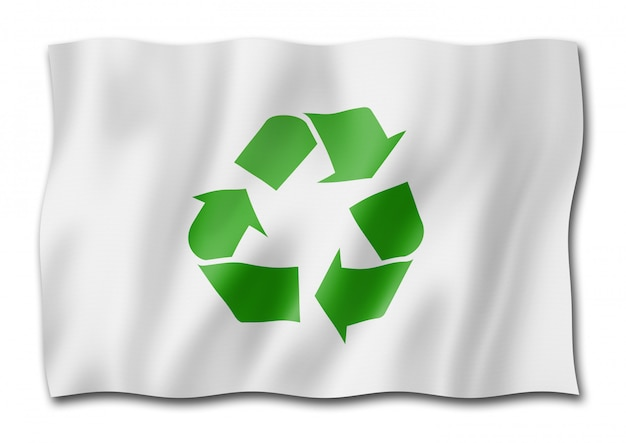 Recycling symbol flagge auf weiß isoliert