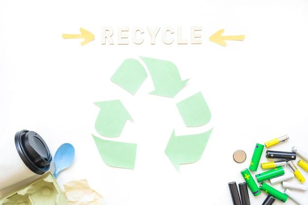 Recycling-wort mit logo und müll
