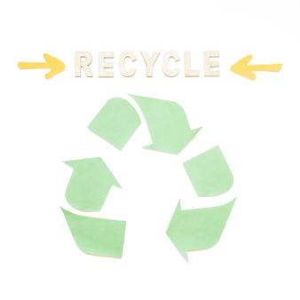 Recycling-wort mit symbol