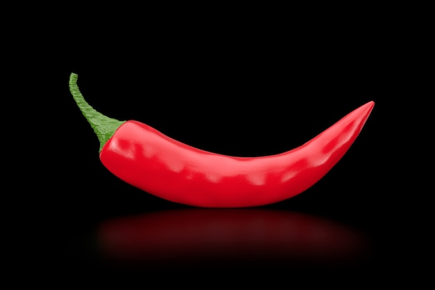 Red chili pepper auf schwarzem hintergrund. 3d-rendering
