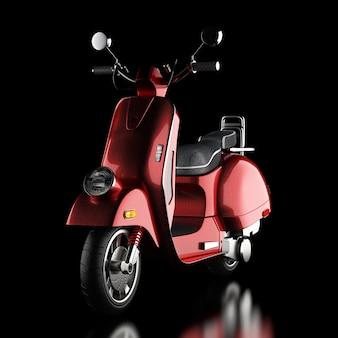 Red classic vintage retro oder elektroroller auf schwarzem hintergrund 3d-rendering