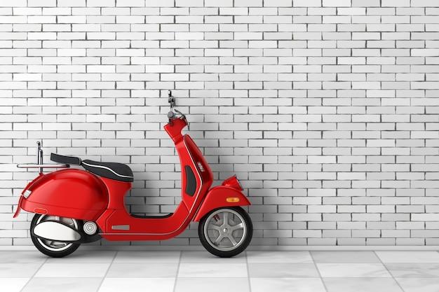 Red classic vintage retro oder elektroroller vor backsteinmauer. 3d-rendering