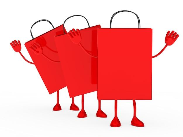 Red einkaufstüte der warteschlange