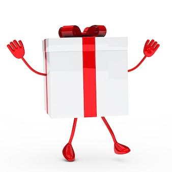 Red geschenk mit armen und beinen