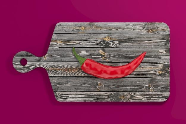 Red hot chili pepper über holzschneidebrett auf rosa hintergrund. 3d-rendering