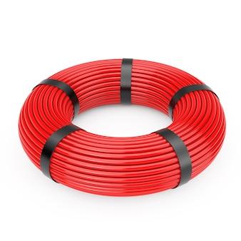 Red knäuel netzwerk-kunststoff-kabel auf weißem hintergrund. 3d-rendering