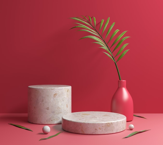 Red mockup stone platform podium mit 3d-render von palm leaves