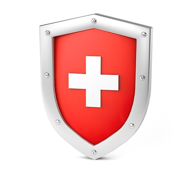 Red shield mit einem cross protection und medical care konzept isoliert auf weiss