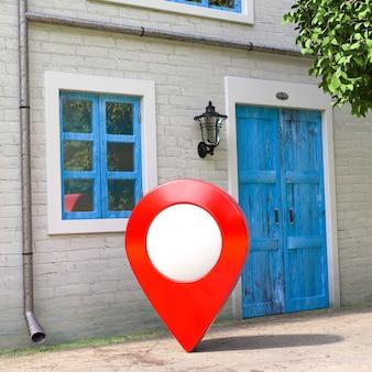 Red target pin pointer vor retro vintage european house building, narrow street scene extreme nahaufnahme. 3d-rendering