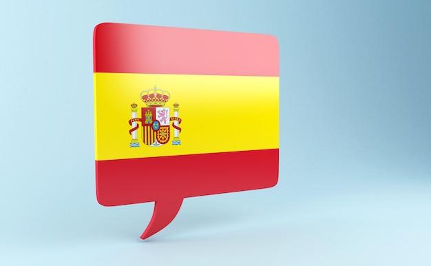 Rede der blase 3d mit spanien-markierungsfahne.