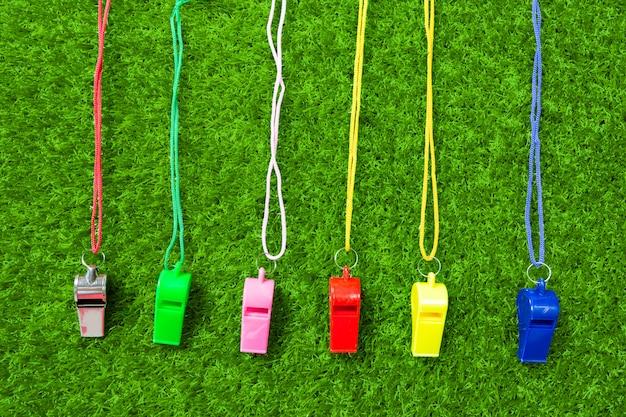 Referent whistle auf grünem gras