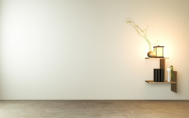 Regal an der wand im modernen leeren raum im japanischen zen-stil, minimale designs.