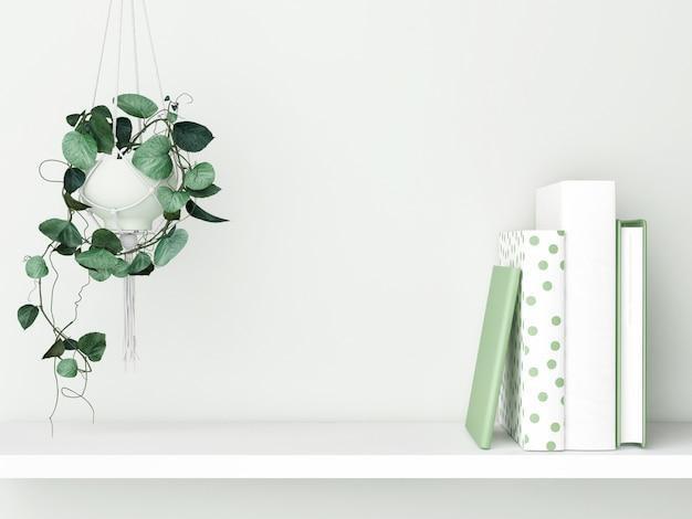 Regal mit büchern und blumentopfdekoration grüner wandhintergrund