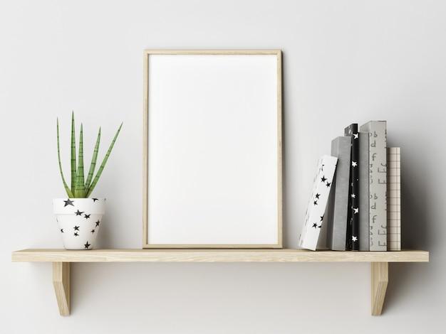 Regal mit büchern und blumentopfdekoration grüner wandhintergrund Premium Fotos