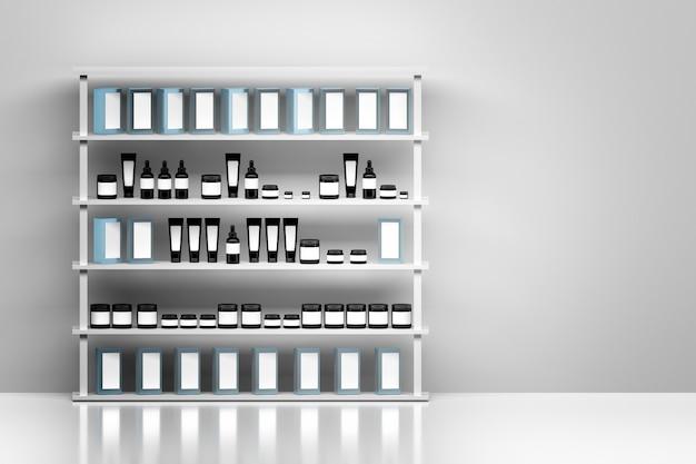 Regal mit hautpflegecreme-produktpaketen auf weißem wandhintergrund. schwarze glänzende kosmetikplastikbehälter mit weißen leeren aufklebern.