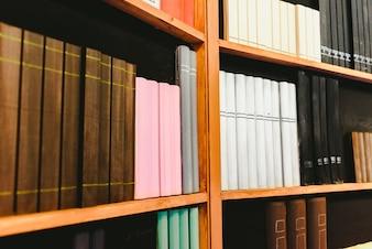 Regale mit gefälschten Büchern zur Dekoration.