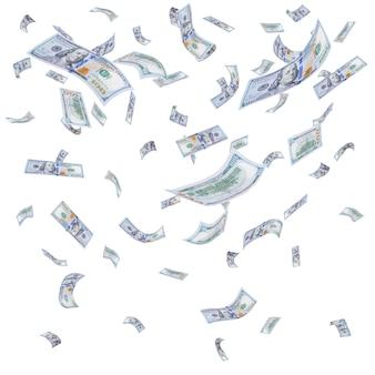 Regen von fallenden dollars isoliert auf weißer oberfläche