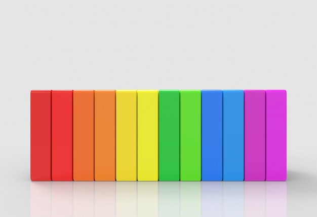 Regenbogen bunte vertikale lgbt-balken auf grauem hintergrund