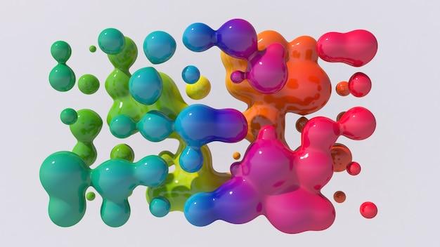 Regenbogen flüssige kugeln. abstrakte illustration, 3d-wiedergabe.