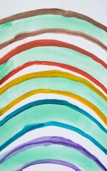 Regenbogen gemalter bogen, bunte süße handzeichnung des aquarells.