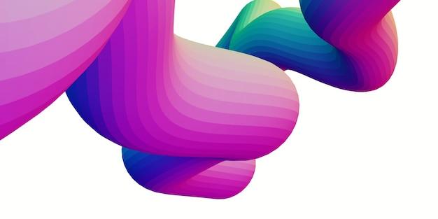 Regenbogen holographische abstrakte wellenlinie trendy wave gummi linie 3d-rendering