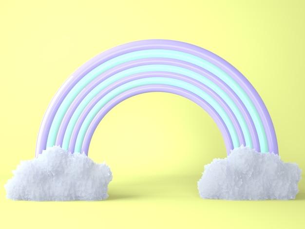Regenbogen mit wolken auf gelbem, 3d rendern