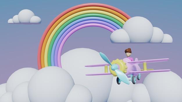 Regenbogen mit wolkenhintergrund