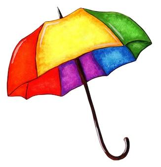 Regenbogen schöner regenschirm helle kinderillustration isoliert auf weißem hintergrund
