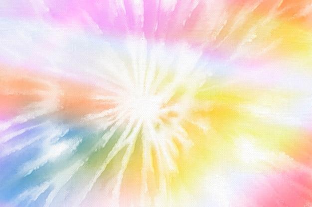 Regenbogen-tie-dye-hintergrund mit pastellwirbel-aquarellfarbe Kostenlose Fotos