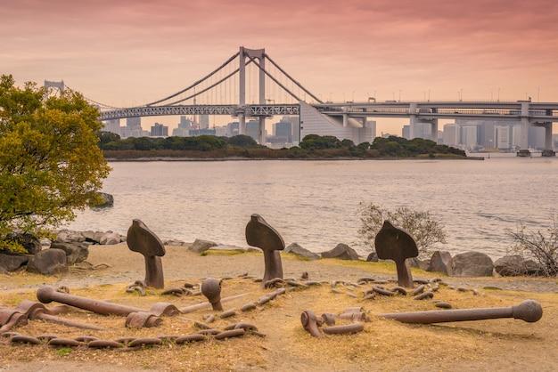 Regenbogenbrücke in odaiba, tokyo