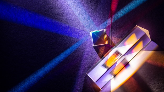 Regenbogenlichter prismeneffekt flach liegen