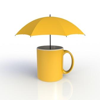 Regenschirm mit der gelben kaffeetasse getrennt auf weiß