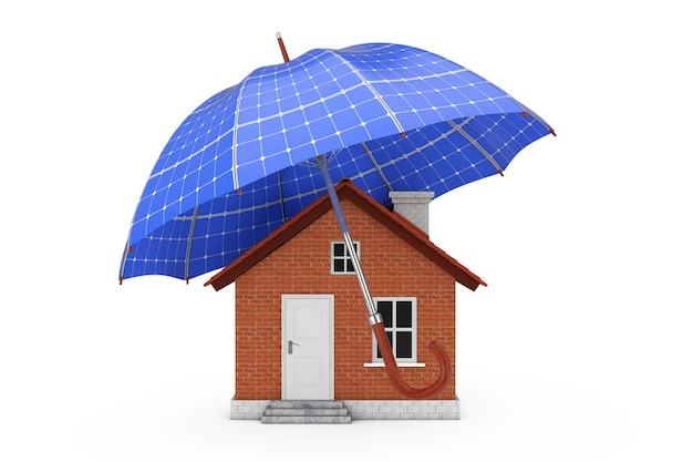 Regenschirm mit sollar panels über haus auf weißem hintergrund 3d-rendering
