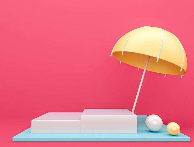 Regenschirmbühne mit rosa hintergrund, 3d-rendering