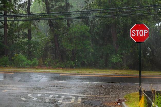 Regentropfen im wasser, regen auf asphaltierter oder asphaltierter straße, der wellen erzeugt,