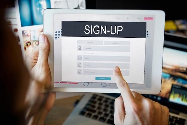 Registrieren mitgliedschaft registrierung follow concept