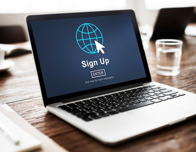 Registrieren registrieren beitreten bewerber einschreiben beitrittskonzept eingeben