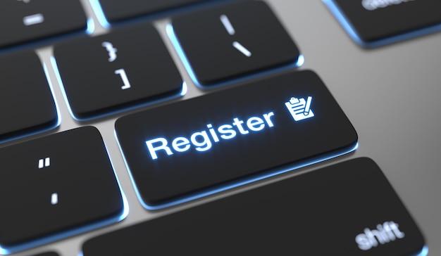 Registrieren sie den text auf der tastaturtaste