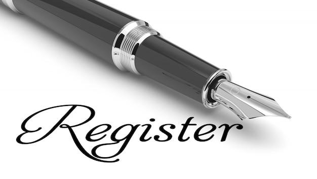 Registrieren sie sich handgeschrieben mit füllfederhalter